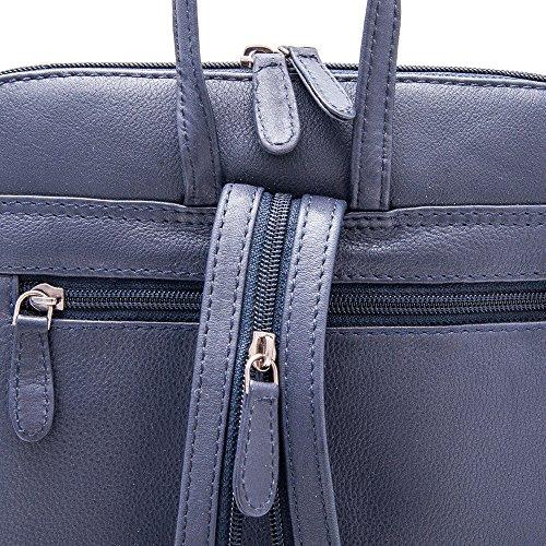 Zerimar Mochila Mujer | 100 % Piel Alta Calidad |Bolso Señora | Bolso de Mano | Bolso Grande | Bolso Pequeño | Múltiples compartimentos | Casual | Medidas: 26 x 25 x 7 cms Azul marino