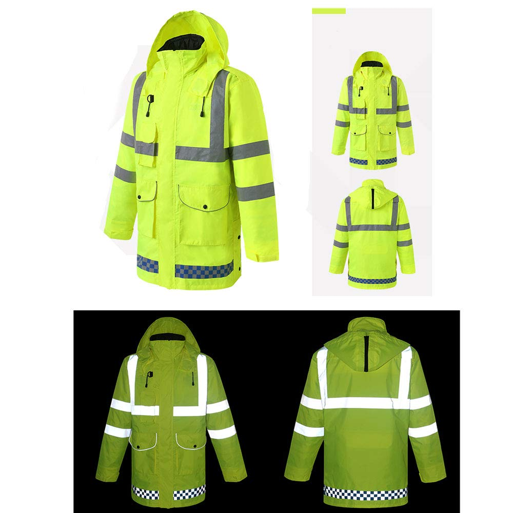 YYHSND Reflective Raincoat, Traffic Warning Adult Split Reflector, Motorcycle Riding Thick Waterproof Suit Reflective Vests (Size : XL) by YYHSND (Image #3)