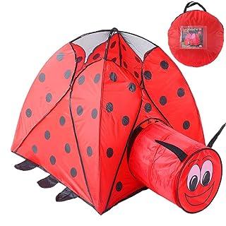 ACCDUER Pop up Kids-Tenda, Red Beetle Tunnel Tende Indoor/Outdoor Bambini Giocare Tenda con Il Trasporto della Borsa Giocattolo Tenda Playhouse per Ragazzi Ragazze miglior Regalo