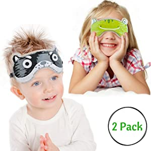 Kids Hot Cold Eye Masks by FOMI Care | 2- Pack | Multi-Use Fun Animal Designed Masks for Eyes, Forehead, Neck, Elbow, Ankles | Pain Relief for Fever, Sinuses, Headaches, Boo Boos, Wisdom Teeth