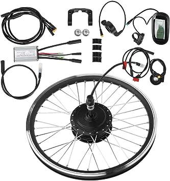 XJYA Kits eléctricos de la conversión de la Bici, Motor de Cubo de Rueda con el Instrumento LCD Bicicletas montaña conversión de la Bicicleta a Prueba de Agua Kit 36V 250W,Front Drive: