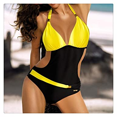 84be8d03f9 Sexy One Piece Swimsuit Women Swimwear Push Up Female One-Piece Suits  Halter Padded Swim Trikini Plus Size Bathing Suit Yellow L at Amazon Women's  Clothing ...
