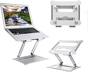 Laptop Stand Adjustable Ergonomic Aluminum Laptop Mount Computer Stand Laptop Riser Compatible with Mac MacBook Pro Air, Lenovo, HP, Dell, More 10-17 Inch PC Notebook Space Gray