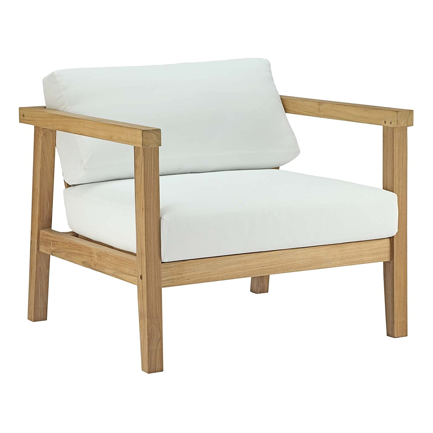 Amazon com modway bayport teak wood outdoor patio armchair in natural white garden outdoor
