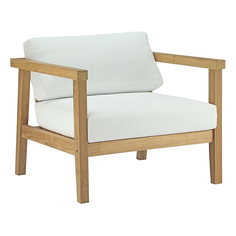 Amazon com modway bayport teak wood outdoor patio armchair in natural white garden outdoor