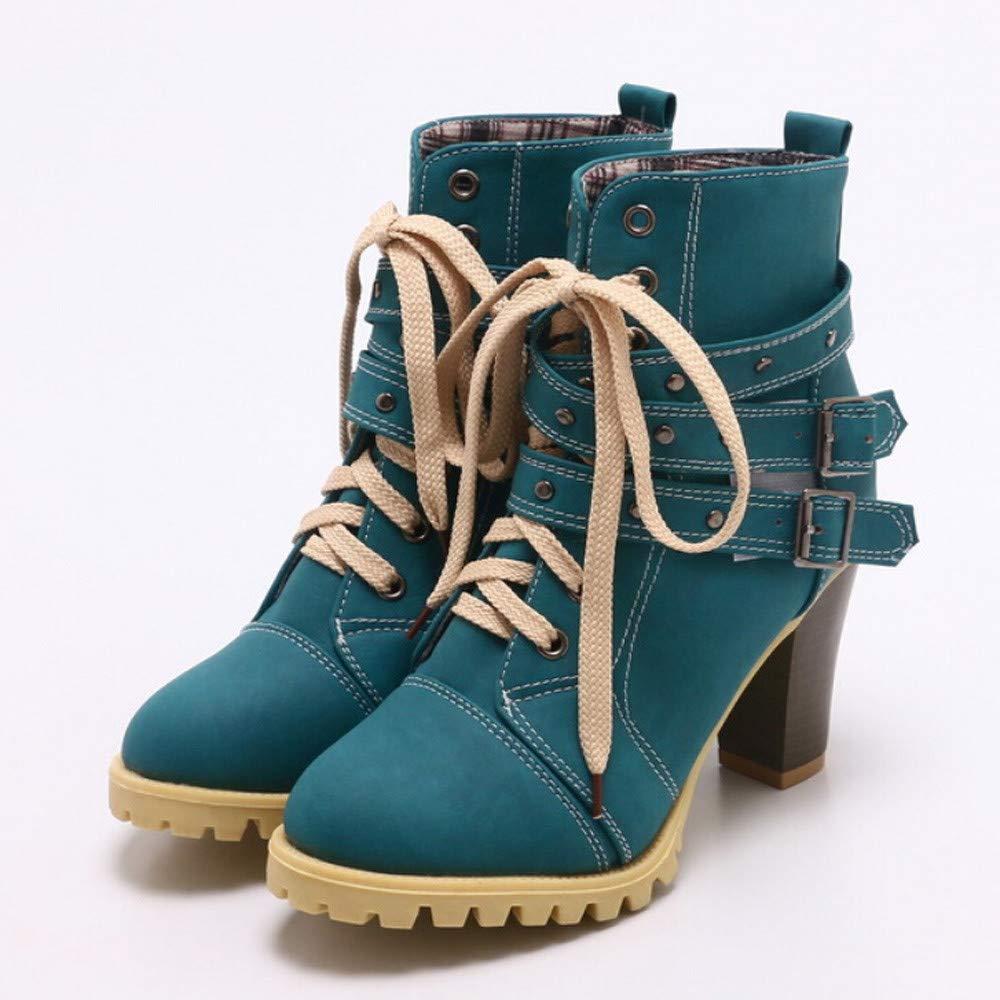 Oudan Oudan Oudan Stiefel Damen Schuhe Freizeitschuhe Mode Frauen Gürtelschnalle Rivet High Thick mit Kurzen Freizeit Ankle Stiefel Damenstiefel Stiefel Elegant Stiefeletten (Farbe   Blau Größe   40 EU) 707441