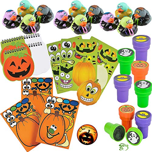 Halloween School Sticker and Toy Assortment Favor Pack for 12 Includes Halloween Rubber Ducks, Stampers, Pumpkin Notepads, 2 Sets of Jack-O-Lantern Sticker Sheets, and an EXCLUSIVE Happy Halloween Party Pin by Another Dream! ()