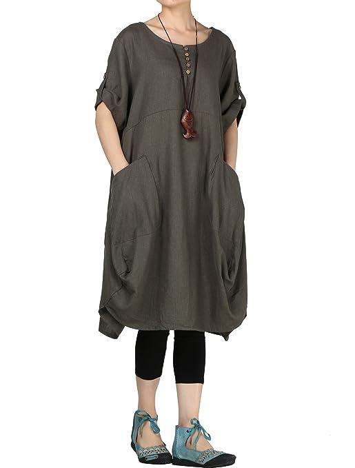 5070049839b09 Vogstyle Robe Femme Ample Asymétrique Col Rond Shirt Long Robe Courte Poches  Grandes  Amazon.fr  Vêtements et accessoires