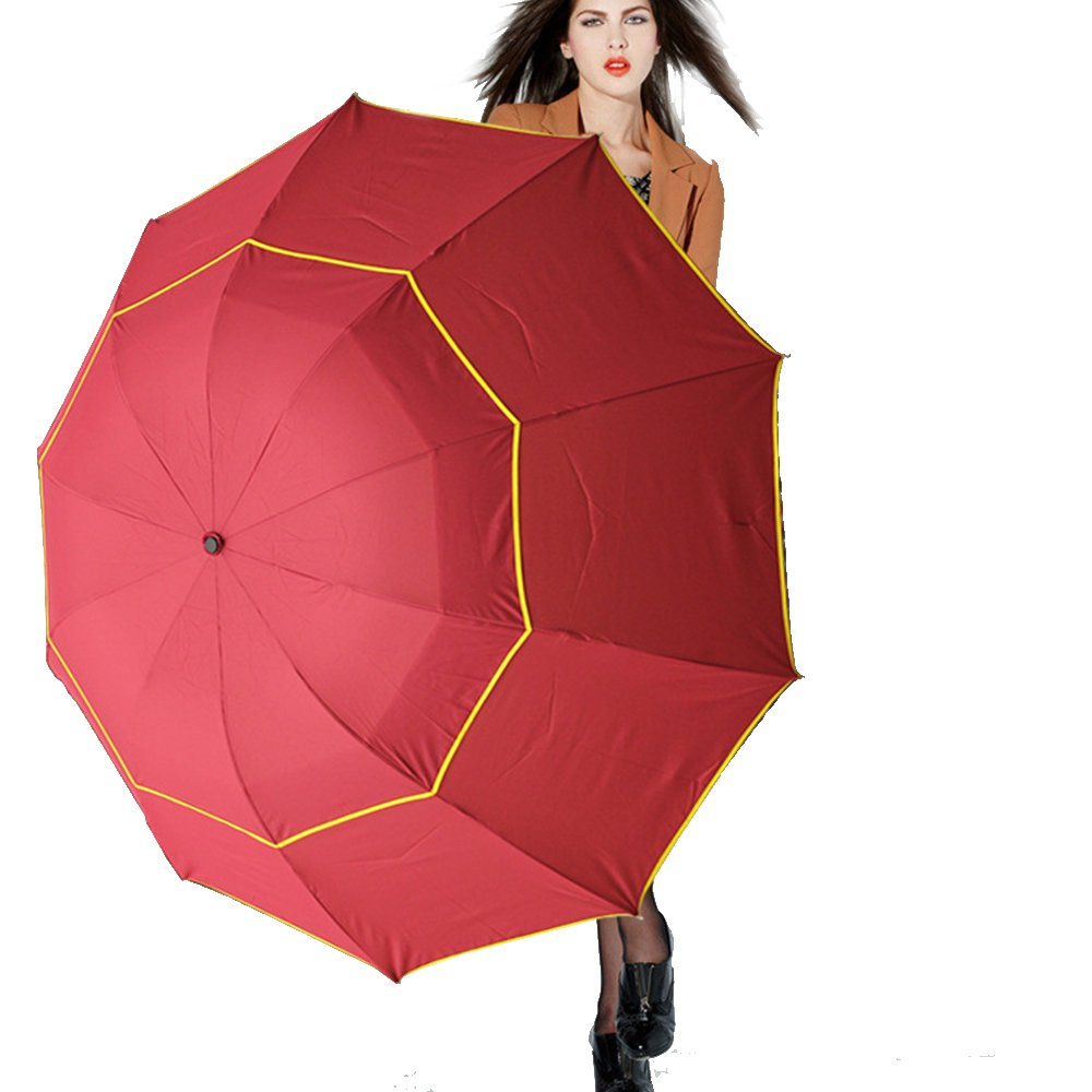 Edear 60 Inch Portable Oversize Large Compact Golf Umbrella for Travelling-Red