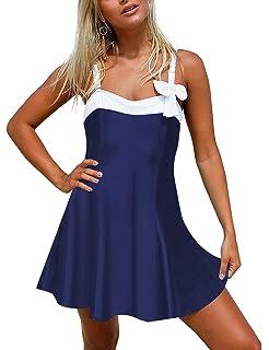 0928107d6eec2 luvamia Women s One Piece Bowknot Swimdress Bandeau Swimsuit Skirted  Bathing Suit Black