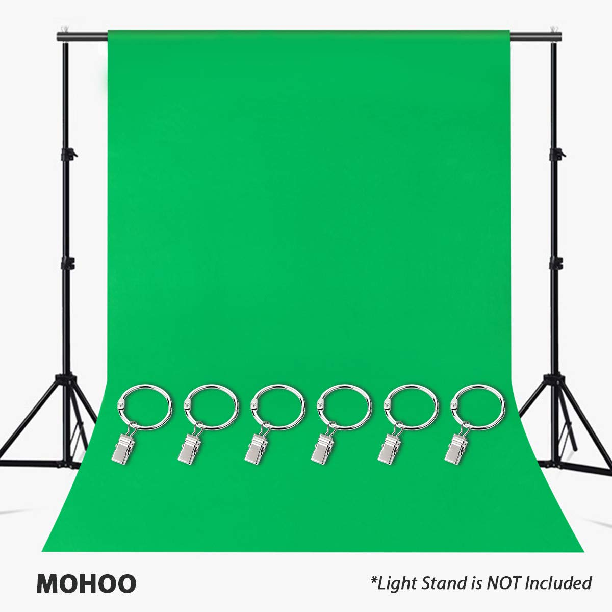 MOHOO 7x5FT Green Photography Backdrop, Green Backdrop with Ring Metal Holding Clips, Solid Color Green Screen Photo Backdrop, Studio Photography Props for Studio Video Photo Photo Shot