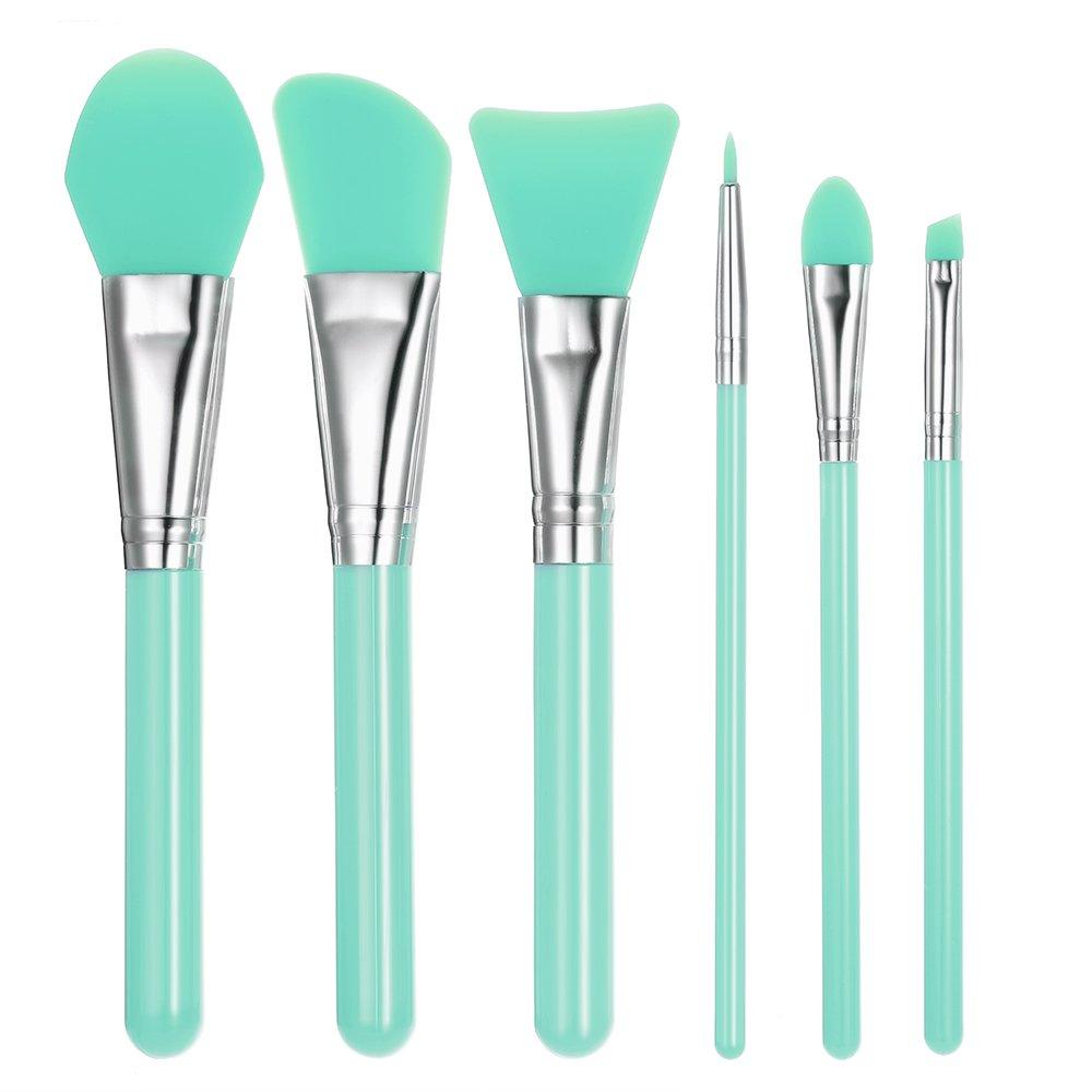 Anself 6pcs Silicone Makeup Brush Set Facial Mask Foundation Brushes Eyeshadow Eyebrow Brush Kit