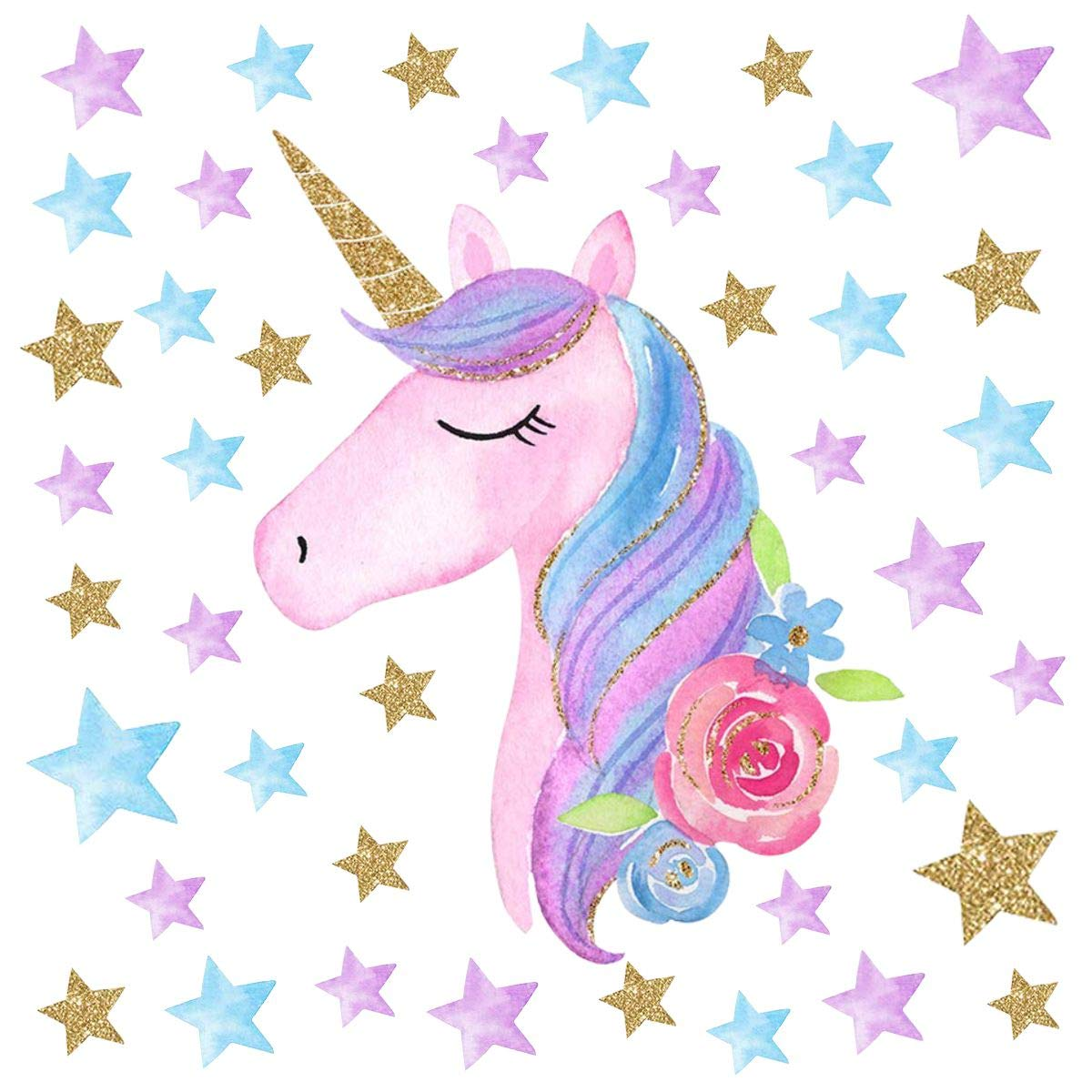 Unicorn Wall Stickers Decal Decoration with Vinyl Decal Bedroom Nursery Decor for Girls Baby Kids (Uniocrn with Heart) HUIBO