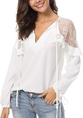 Y Otoño Tops Mujeres Moda Encaje Chifón Camisas Chic Camiseta ...