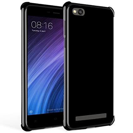 brand new cb4c4 6c79a Bracevor Back Case Cover : Flexible Shockproof TPU, Cushioned Edges, Design  for Xiaomi Redmi 4A - Black