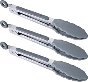 "BIGSUNNY 7"" Mini Silicone Serving Tongs Set of 3 (Gray)"