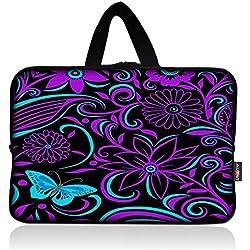 AUPET Purple Flowers Universal 7 ~ 8 inch Tablet Portable Neoprene Zipper Carrying Sleeve Case Bag
