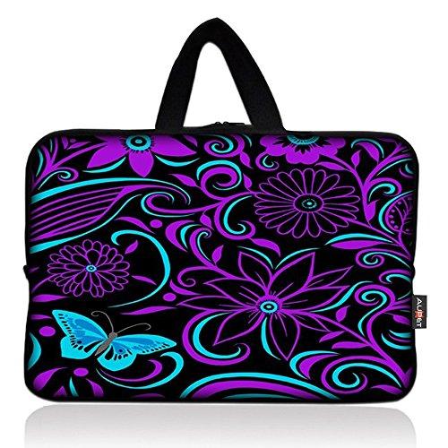 AUPET Purple Flowers Universal 7~8 inch Tablet Portable Neoprene Zipper Carrying Sleeve Case - Case Carrying Neoprene