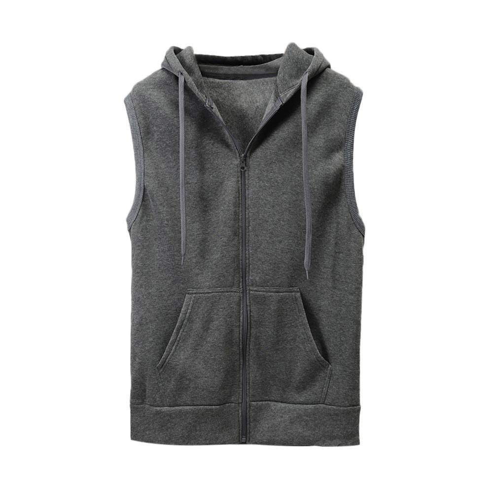WUAI Clearance Men's Hoodie Jackets Sleeveless Slim Fit Waistcoat Solid Color Athletic Sports Tops(Grey,US Size S = Tag M)