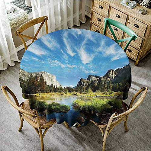 familytaste Circular Table CoverApartment Decor Collection,River Near Mountain Stone Hiking Traveling Journey Sunny Day Waterscape Picture,Blue Green D 50