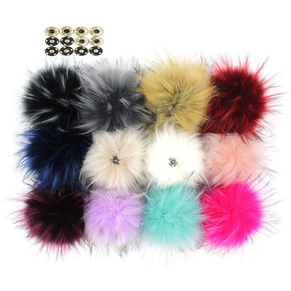 Pack of 12 Large Faux Raccoon Fur 5inch Pompoms Ball for Knitting Beanie Hats DIY with Press Snap Buttons (Colorful Mix)