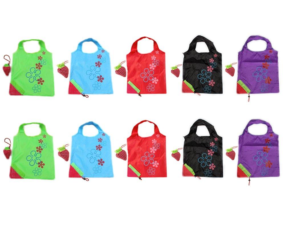 amazon com bonamart strawberry reusable shopping tote bag foldable