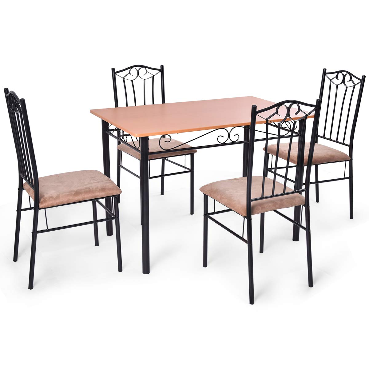 Tangkula 5 Piece Dining Table Set Vintage Wood Top Padded Seat Dining Table and Chairs Set Home Kitchen Dining Room Furniture by Tangkula (Image #4)