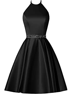 470cea68ef3 BBCbridal Satin Halter Homecoming Dresses Short Beaded Cocktail Dress for  Juniors Prom Gowns with Pockets