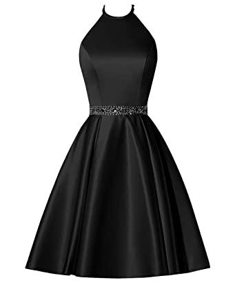 5f830aba9e0d BBCbridal Satin Halter Homecoming Dresses Short Beaded Cocktail Dress for Juniors  Prom Gowns with Pockets Black