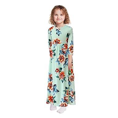 24e486de04b1d QtGirl Robe Fille à Fleurs 11-12 Ans Aqua Robe Longue Printemps Ete Manches  3