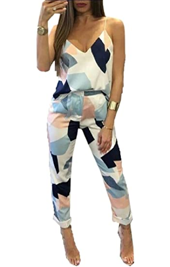 f9587bfcbca Amazon.com  MLG Womens Floral Tribal Fashion Sling Two Piece Office Jumpsuit   Clothing
