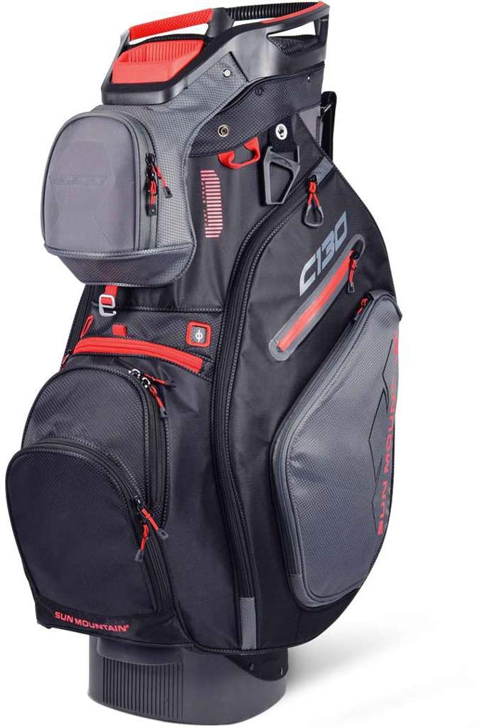 Sun Mountain Golf 2019 C-130 Cart Bag GUNMETAL-BLACK-RED (Gunmetal-Black-Red) by Sun Mountain