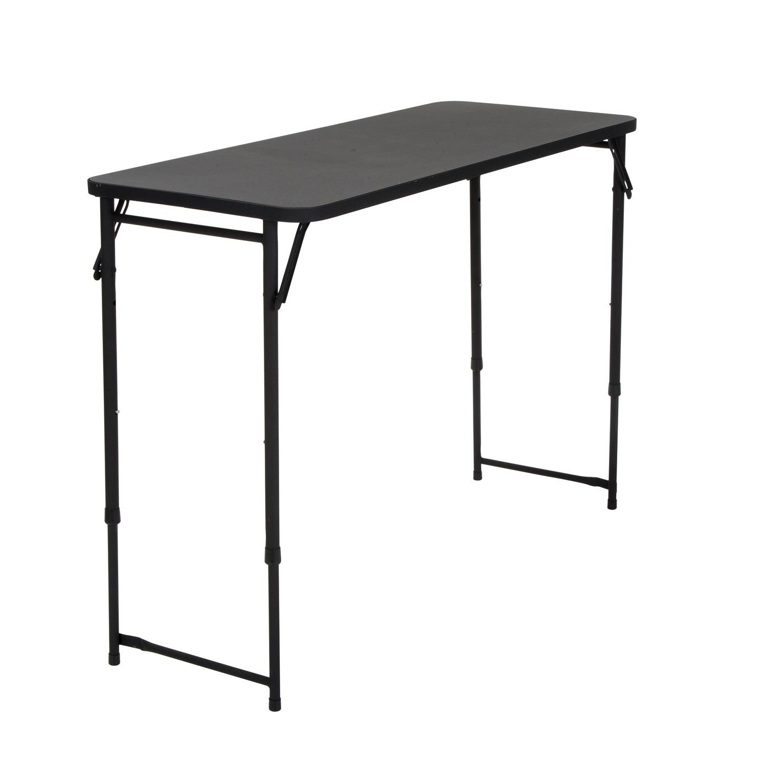 COSCO 20'' x 48'' Adjustable Height PVC Top Table, Black by Cosco Products