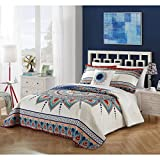 4 Piece Artistic Blue White Bohemian Southwest Quilt Queen Set, Hippie Themed Bedding Red Orange Tan Abstract Florals Flower Southwestern Indie Hippy Tribal Navy Bordered, Reversible Cotton