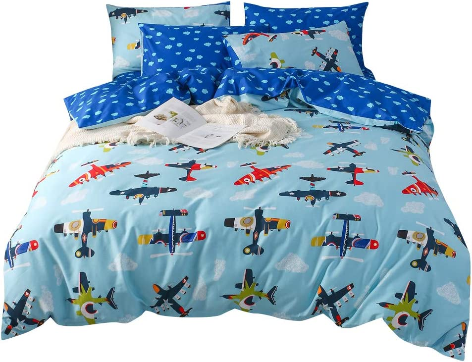 mixinni Kids Full Size Airplane Printed Boys Blue Duvet Cover Set Soft Cotton Reversible Cloud Pattern Bedding Set with Hidden Zipper Ties for Girls Teens(3pcs, Queen/Full Size)
