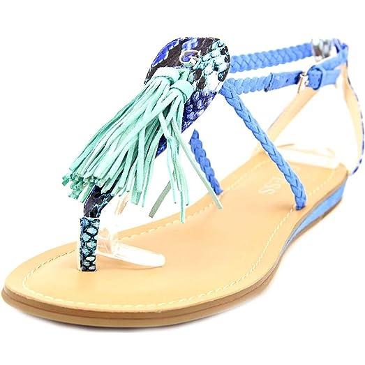GUESS Womens Frannie Split Toe Casual Ankle Strap Sandals, Blue Suede, Size  6.0