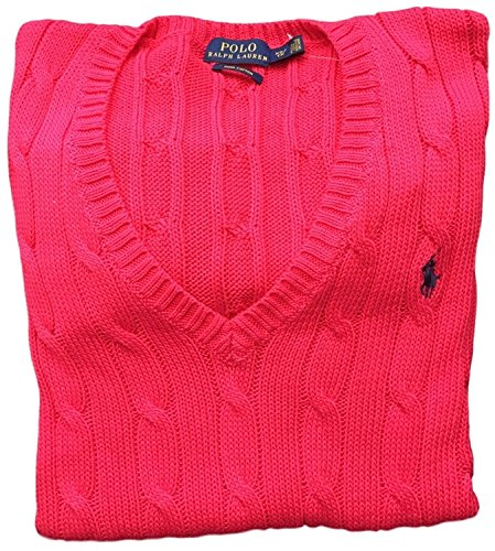 Polo Ralph Lauren Women's Cotton  Cable Knit V-Neck Sweater (Red Raspberry, Large) Pima Cotton Cable