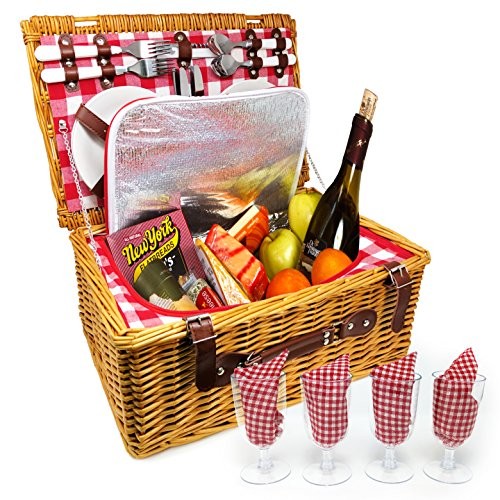 UPGRADED Picnic Basket 2018 Model - INSULATED 4 Person Wicker Hamper - Premium Set with Plates, Wine Glasses, Flatware and Napkins