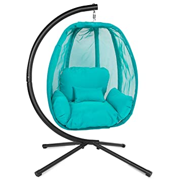 Barton Hanging Egg Chair With Stand U0026 Fabric Cushion Patio Indoor Backyard  Furniture Swing Chair (