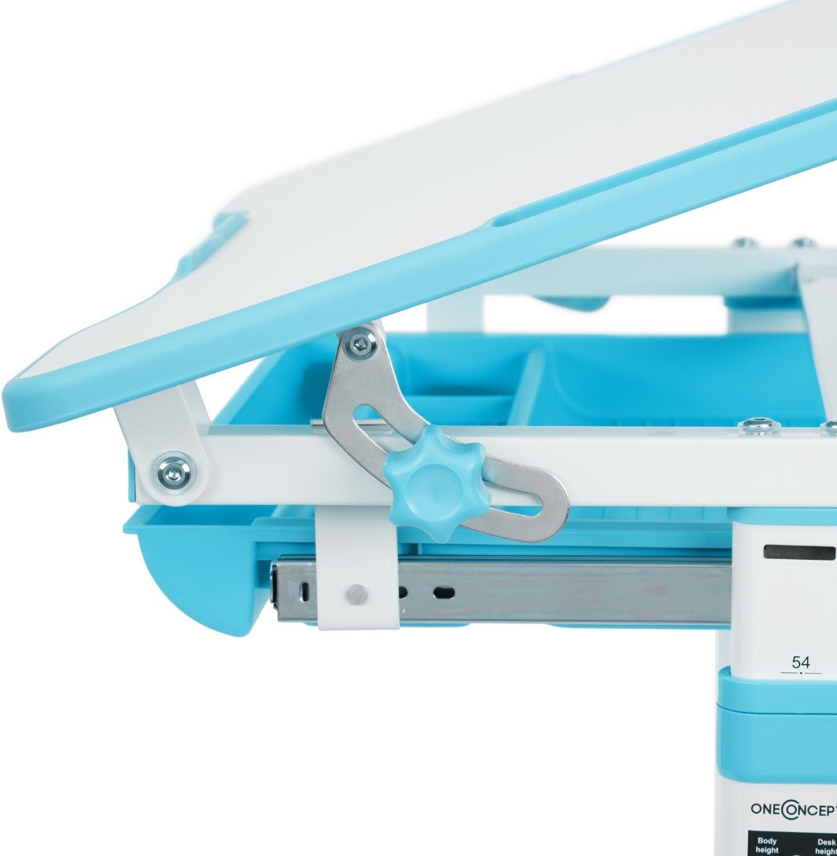 Blu Ergonomica Tavolo e Sedia 2 Pezzi Cassetti Estraibili con Scomparti Regolabile in Altezza Scrivania per Bambini oneConcept Tommi