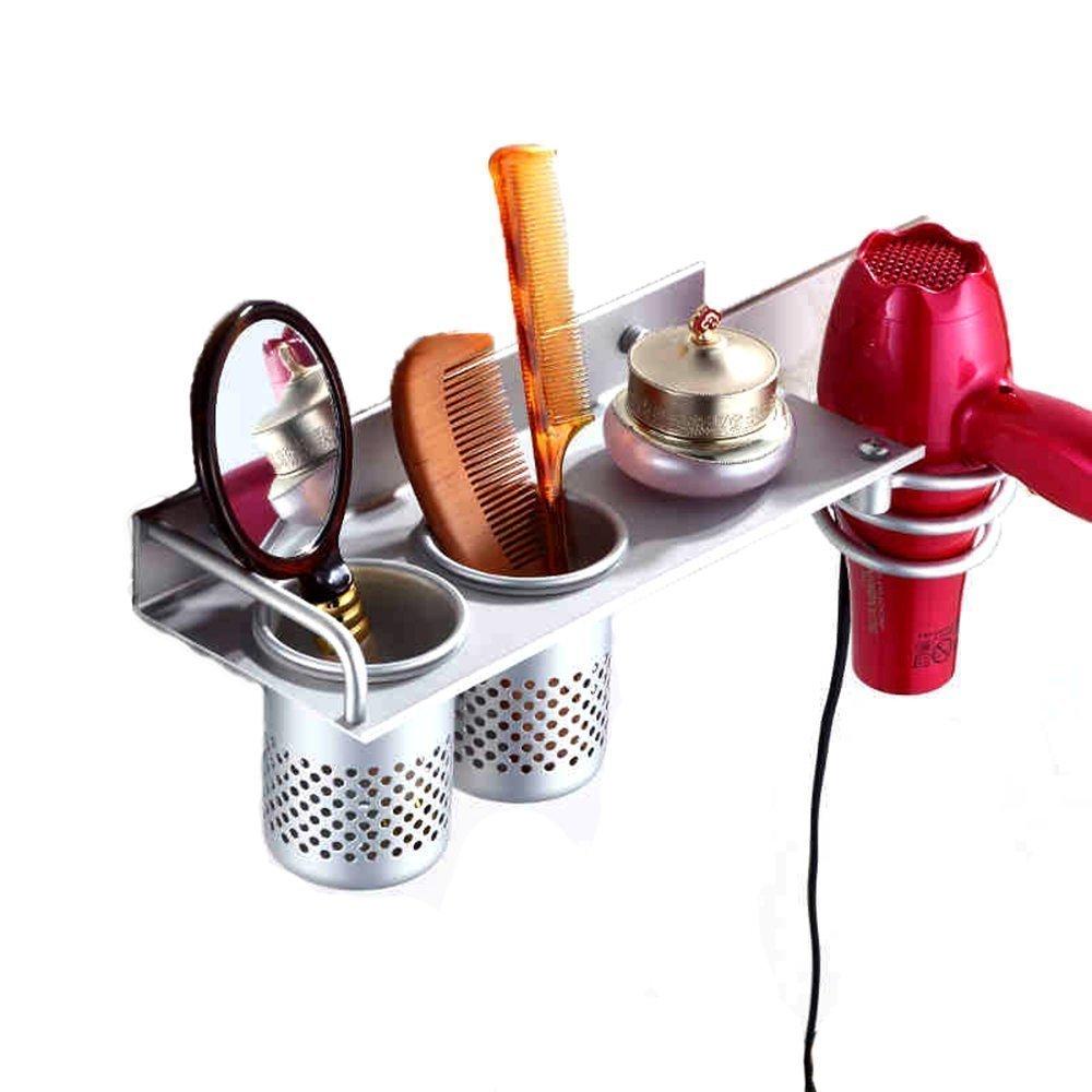 MyLifeUNIT montaggio a parete asciugacapelli appeso organizzatore cremagliera, titolare asciugacapelli alluminio con 2 tazze