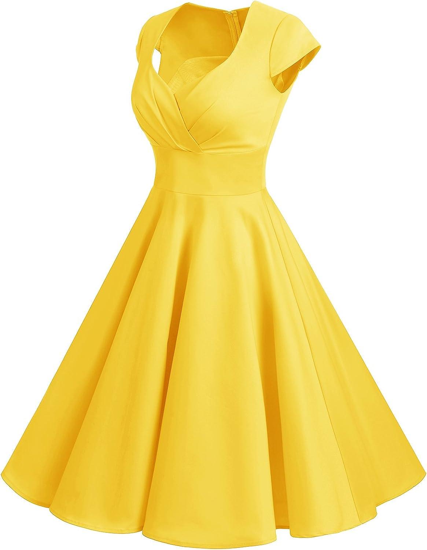 bbonlinedress Donna 50s 60s Linea Rockabilly abito manicotto della protezione floreale Vintage swing Party Vestito