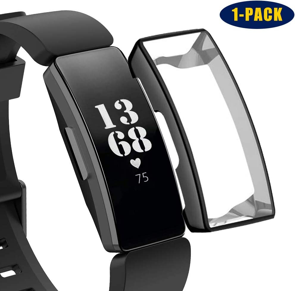 TPU Clear Ultra Thin Full Protection Bumper Case Shatter-Resistant Screen Protector Cover Case for Fitbit Inspire HR FunBand Protective Case Compatible With Fitbit Inspire /& Fitbit Inspire HR 1-Pack