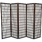 Oriental Furniture 5 ft. Tall Window Pane Shoji Screen - Walnut - 5 Panels