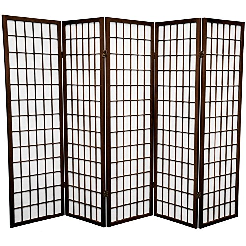Oriental Furniture 5 ft. Tall Window Pane Shoji Screen - Walnut - 5 Panels by ORIENTAL FURNITURE (Image #1)