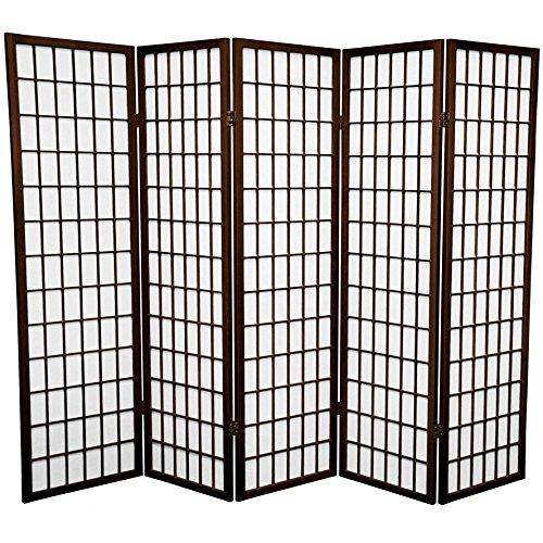 Oriental Furniture 5 ft. Tall Window Pane Shoji Screen - Walnut - 5 Panels by ORIENTAL FURNITURE