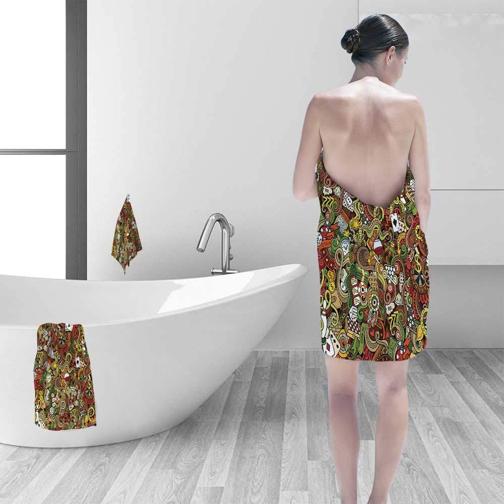 Printsonne Extra Large Bath Towel Doodles Style Art Bingo Excitement Checkers King Tambourine Vegas Easy Care Machine wash by Printsonne