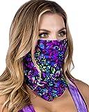 Womens Blacklight Rainbow Face Mask Bandana Rave