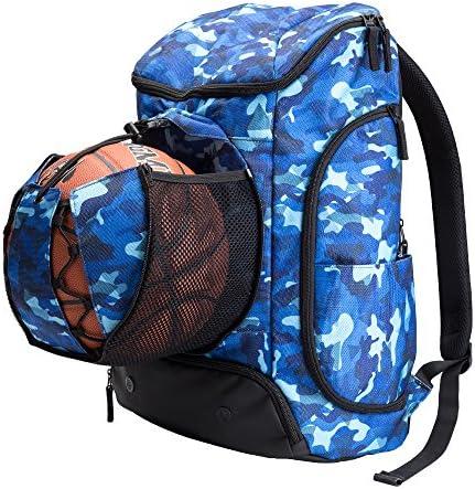 Kuangmi Mochila con Bolsa para balón de fútbol o Baloncesto, Ropa mojada, Ideal para su Uso en Deportes al Aire Libre, Uso Escolar o Viajes,Azul,42L: Amazon.es: Deportes y aire libre