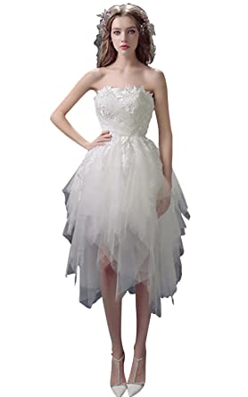 BessWedding Short Strapless Lace with Tulle Evening Dress for Girls, Ivory S2